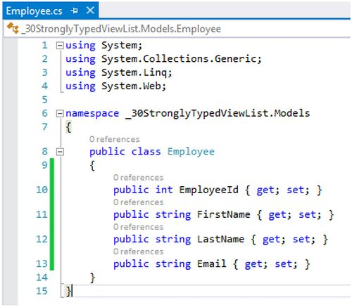 Strongly Typed View List Sample In Mvc: Day 24