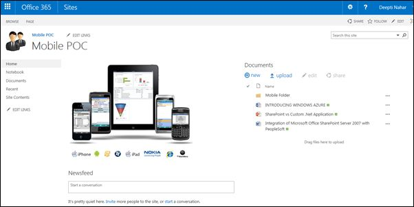 Working With SharePoint 2013 Online Sites on Mobile Devices