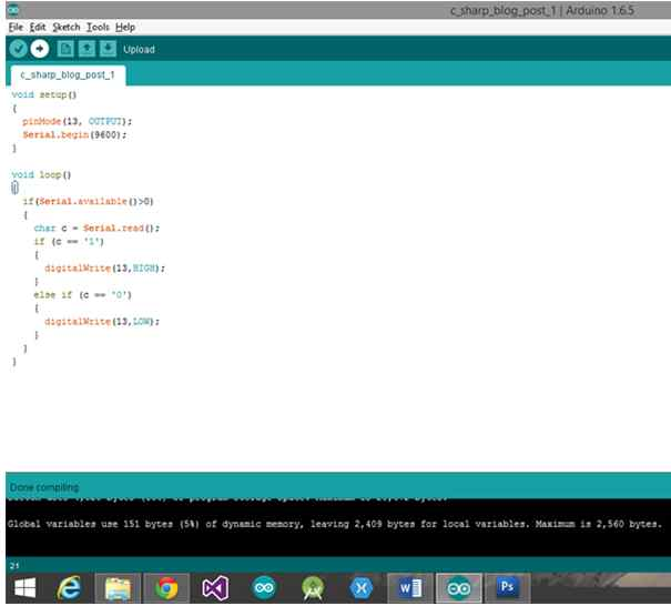 Arduino IDE with the final sketch