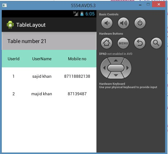 Create a table layout in android for Table design in xml