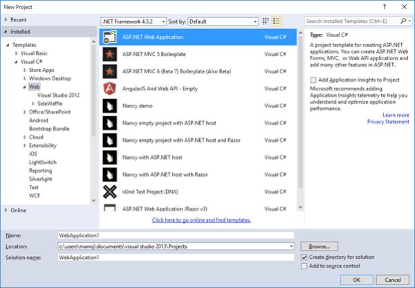 New Project Dialog box In Visual Studio 2013