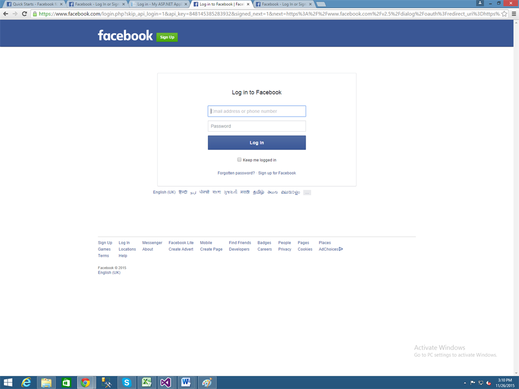 fb login via apps