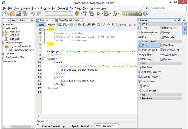 how to create java application in netbeans