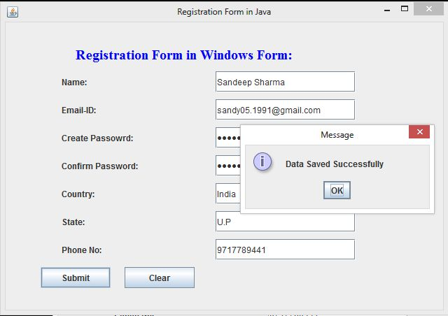 Registration Form In Windows Form Using Swing In Java