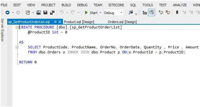 Create a sample Stored Procedure