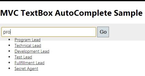 AutoComplete Textbox in MVC