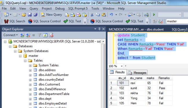 Using Case With Select And Update Statement In SQL Server 2012