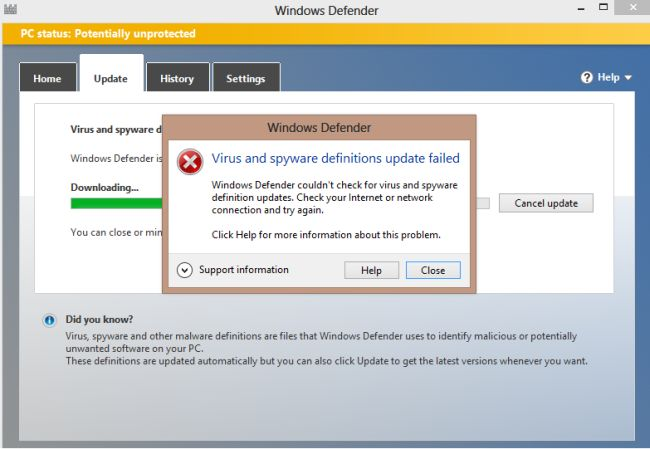 Windows defender virus and spyware definitions update failed for Window defender update
