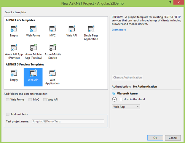 New ASP.NET Project dialog