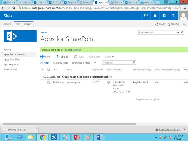 App Catalogue In Sharepoint Online