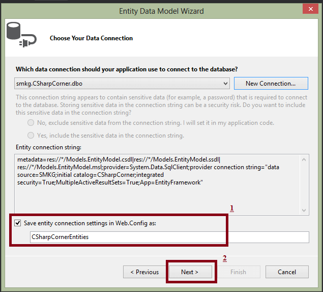 how to connect to sql tables in entity framework vb