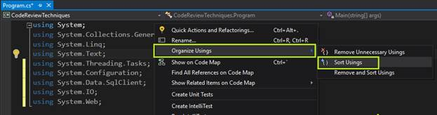Sort Usings option in Visual Studio 2015