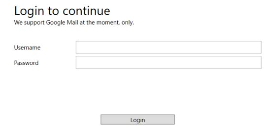Authentication page for the application