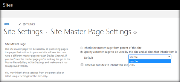 c how to change master page