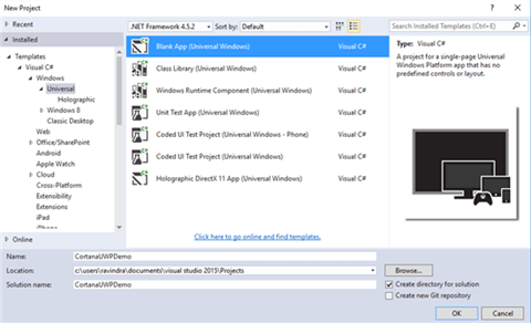 Create Windows Universal Project