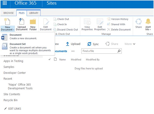 Create a document set in sharepoint online office 365 for Office 365 design document