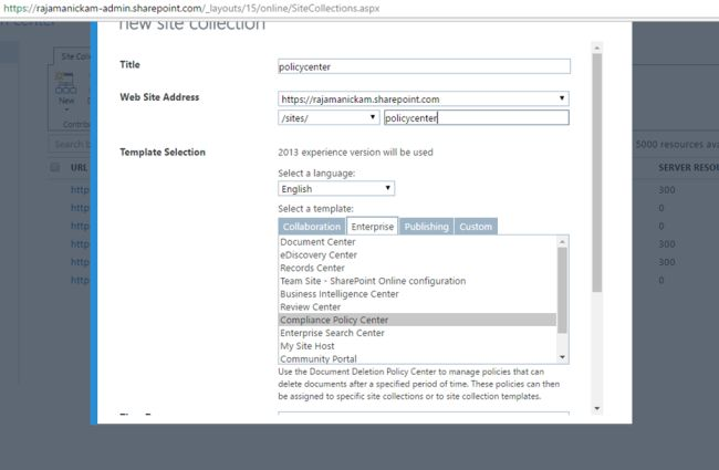 create compliance policy center site collection in sharepoint 2013 office 365. Black Bedroom Furniture Sets. Home Design Ideas