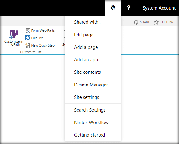 SharePoint 2016 Site Actions