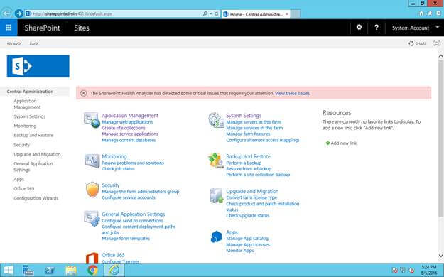 Open Sharepoint central administration