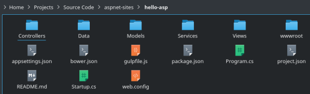 ASP.NET Web application files and directories in .NET Core