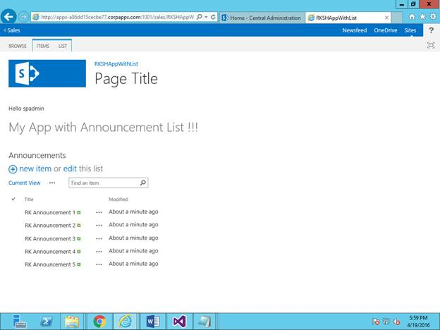 Creating Apps With List Using Visual Studio In Sharepoint