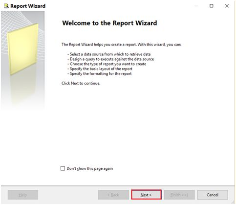 report wizard Window