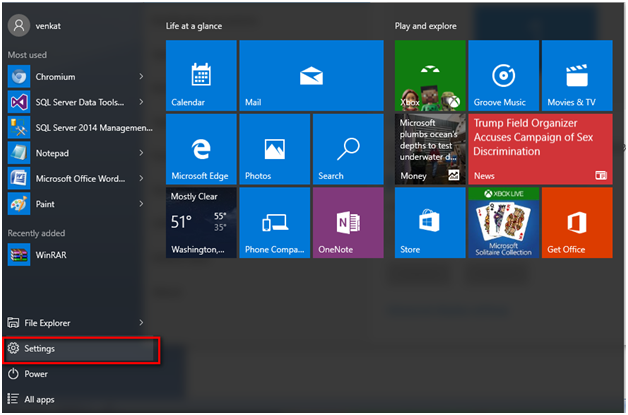 Option in Windows 10