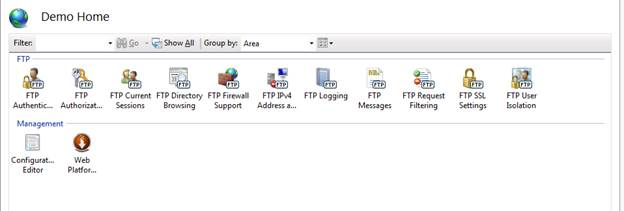 FTP features in IIS