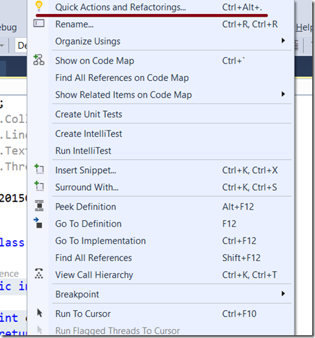 Quick Actions and Refactorings