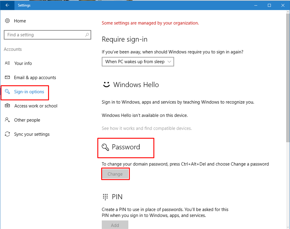 window how to change password