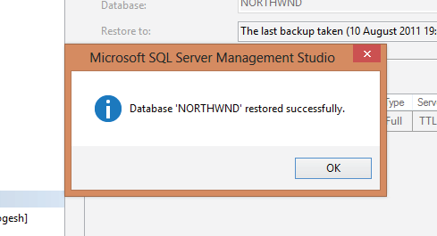 database northwnd restored successfully