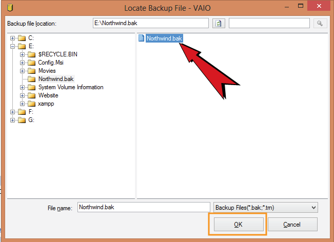 locate backup file window