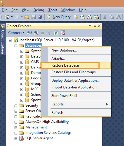 select restore database option