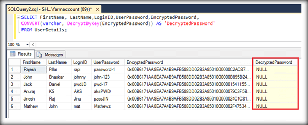 SQL Server 2016: Implement Column Level Encryption/Decryption