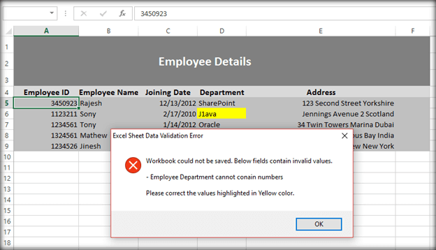 Implement Data Validations In Excel Using Vba Macro Before Uploading. If There Were Multiple Data Validation Errors All The Checks Will Be Fired Error Message Bined And Shown As A Single Box. Worksheet. Excel Worksheet Name Validation At Mspartners.co