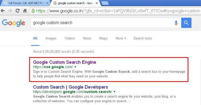 "Step 1 - Open Google and search ""Google Custom Search""."