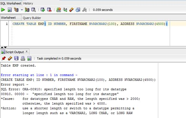 Look at extended data types in oracle 12c - Create table in oracle sql developer ...