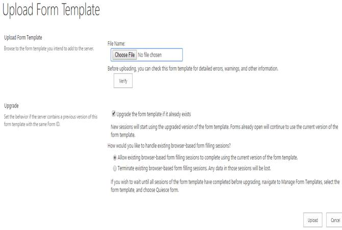 manage form templates of infopath forms services in sharepoint 2013 central administration