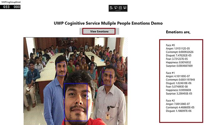 Multiple People Emotions in UWP