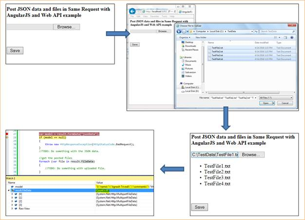 Post JSON data And Files In Same Request With AngularJS And Web API