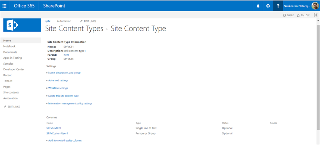 how to create content type in sharepoint