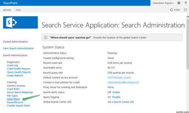 resetting search index in sharepoint 2013