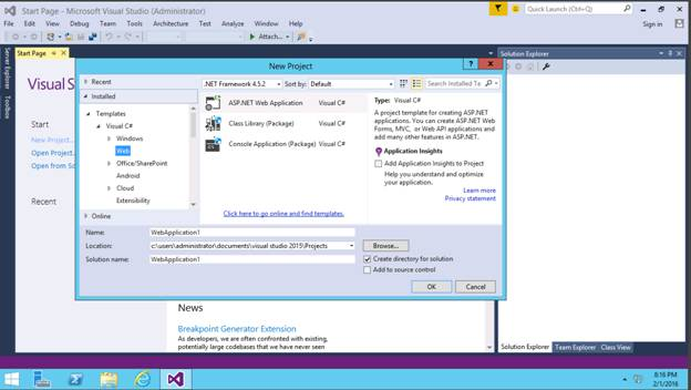 how to create web application in asp net using c#