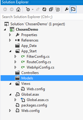 In this article, we will learn how we can make long, difficult to use dropdowns and multi-select boxes to more user friendly using chosen JQuery library into MVC application. For this we need Chosen JQuery library. Since chosen is dependent JQuery framework, we also need JQuery library file. Chosen JQuery is developed by Harvest. So let&#8217;s get started. Will first create a MVC Web application using Visual Studio 2012. To create a MVC project, open Visual Studio. Under File menu, select New and then select Project. After selecting project, you will get below popup. As shown in the Figure 1, please select Web under Visual C# node. After selecting Project Template, select ASP.NET MVC 4 Web Application. Give appropriate Project Name and then click OK. Since this project is for demo purpose, I have selected Empty Template. You can select as per your requirement. After selecting appropriate template, please click on OK. Since we had selected Empty project as shown in the Figure 2. We don&#8217;t have no view, model and controller files added. So we will first add controller and then view for an action method. To create a controller right click on Controllers folder. In &#8220;Add Controller&#8221; popup give proper name to controller and click Add. Now under HomeController.cs file you have Index method. To add a view for Index action method, right click on Index action method and click on Add as shown in below figure. For general CSS we have used Bootstrap CSS framework. Now we need Chosen JQuery library to be downloaded. To download Chosen JQuery, we will use NuGet Package Manager. Click on Reference ? Manager NuGet Packages. Search chosen under search box. Click on Install button to install chosen JQuery. Now we need to add reference under view file. To populate dropdown we will add property under ViewBag as shown below. using System; usingSystem.Collections.Generic; usingSystem.Linq; usingSystem.Web; usingSystem.Web.Mvc; namespaceChosenDemo.Controllers { publicclas