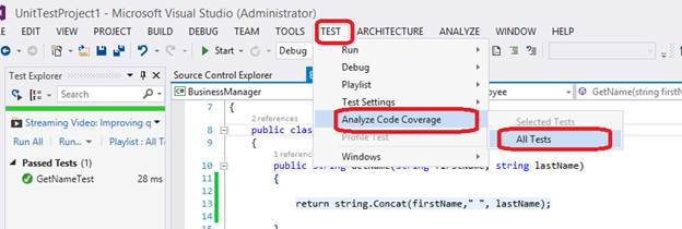 Analyze code coverage