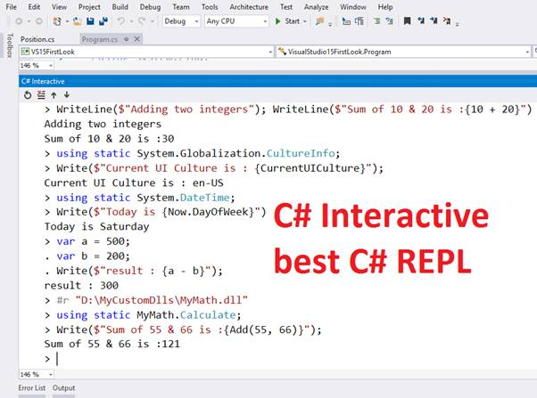 Using C Interactive With Visual Studio 2015