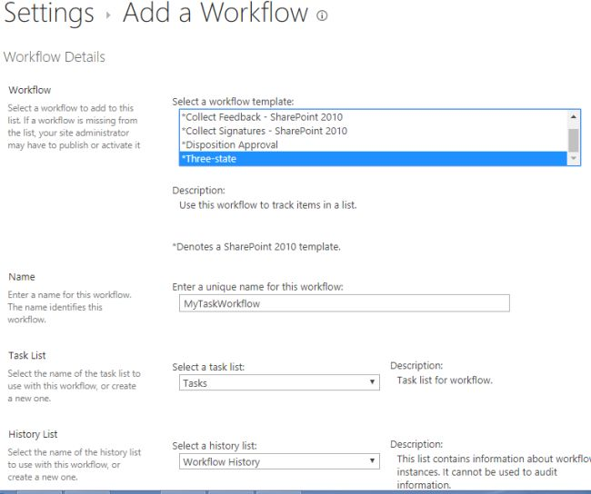 What is three state workflow in sharepoint 2013 for Sharepoint issue tracking template