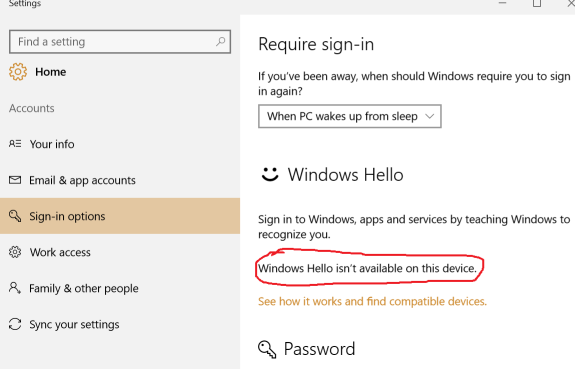 Windows Hello Not Available On My Pc